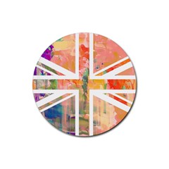 Union Jack Abstract Watercolour Painting Rubber Coaster (round)  by Simbadda