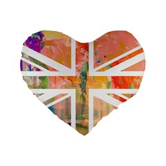 Union Jack Abstract Watercolour Painting Standard 16  Premium Heart Shape Cushions by Simbadda