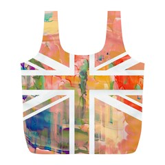 Union Jack Abstract Watercolour Painting Full Print Recycle Bags (l)  by Simbadda