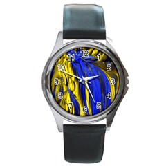 Blue And Gold Fractal Lava Round Metal Watch by Simbadda
