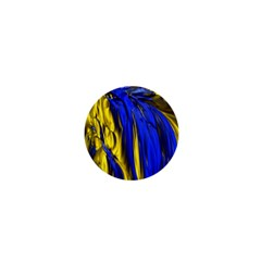 Blue And Gold Fractal Lava 1  Mini Buttons by Simbadda