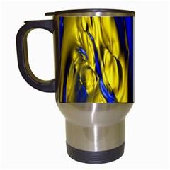 Blue And Gold Fractal Lava Travel Mugs (white) by Simbadda