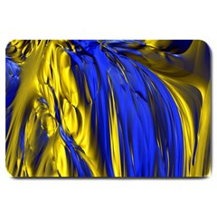 Blue And Gold Fractal Lava Large Doormat  by Simbadda