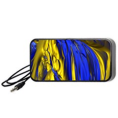 Blue And Gold Fractal Lava Portable Speaker (black) by Simbadda