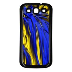 Blue And Gold Fractal Lava Samsung Galaxy S3 Back Case (black) by Simbadda