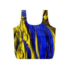 Blue And Gold Fractal Lava Full Print Recycle Bags (s)  by Simbadda