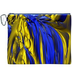 Blue And Gold Fractal Lava Canvas Cosmetic Bag (xxxl) by Simbadda