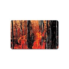 Forest Fire Fractal Background Magnet (name Card) by Simbadda