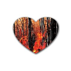 Forest Fire Fractal Background Rubber Coaster (heart)  by Simbadda