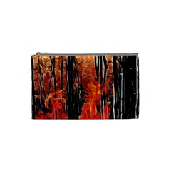 Forest Fire Fractal Background Cosmetic Bag (small)  by Simbadda