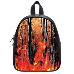 Forest Fire Fractal Background School Bags (small)  by Simbadda