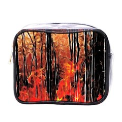Forest Fire Fractal Background Mini Toiletries Bags by Simbadda
