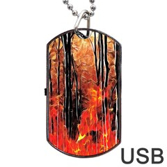 Forest Fire Fractal Background Dog Tag Usb Flash (one Side) by Simbadda
