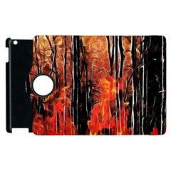 Forest Fire Fractal Background Apple Ipad 2 Flip 360 Case by Simbadda