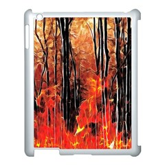Forest Fire Fractal Background Apple Ipad 3/4 Case (white) by Simbadda