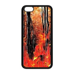 Forest Fire Fractal Background Apple Iphone 5c Seamless Case (black) by Simbadda