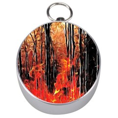 Forest Fire Fractal Background Silver Compasses by Simbadda