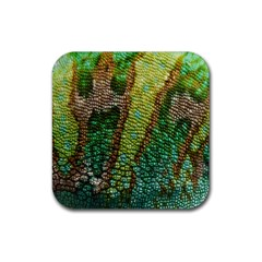 Colorful Chameleon Skin Texture Rubber Square Coaster (4 Pack)  by Simbadda