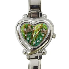 Colorful Chameleon Skin Texture Heart Italian Charm Watch by Simbadda