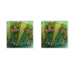 Colorful Chameleon Skin Texture Cufflinks (square) by Simbadda