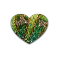 Colorful Chameleon Skin Texture Rubber Coaster (heart)  by Simbadda