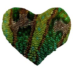 Colorful Chameleon Skin Texture Large 19  Premium Heart Shape Cushions by Simbadda