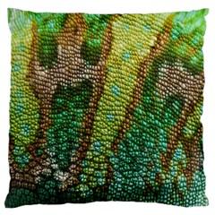 Colorful Chameleon Skin Texture Large Flano Cushion Case (one Side) by Simbadda