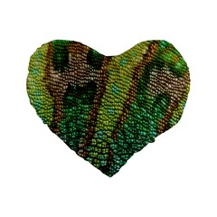 Colorful Chameleon Skin Texture Standard 16  Premium Flano Heart Shape Cushions by Simbadda
