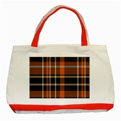 Tartan Background Fabric Design Pattern Classic Tote Bag (Red)