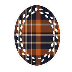 Tartan Background Fabric Design Pattern Ornament (oval Filigree) by Simbadda