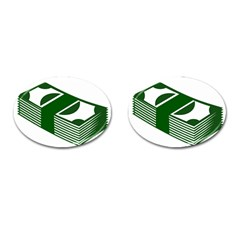 Rich Dollar Money Green Cufflinks (oval) by Alisyart