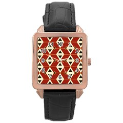 Triangle Arrow Plaid Red Rose Gold Leather Watch  by Alisyart