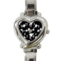 Square Pattern Black Big Flower Floral Pink White Star Heart Italian Charm Watch by Alisyart