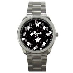 Square Pattern Black Big Flower Floral Pink White Star Sport Metal Watch by Alisyart
