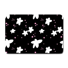 Square Pattern Black Big Flower Floral Pink White Star Small Doormat  by Alisyart