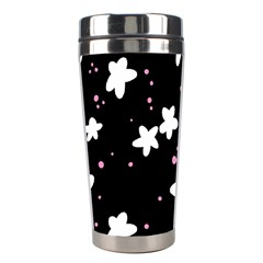 Square Pattern Black Big Flower Floral Pink White Star Stainless Steel Travel Tumblers by Alisyart