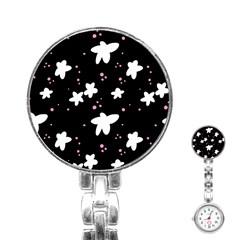 Square Pattern Black Big Flower Floral Pink White Star Stainless Steel Nurses Watch by Alisyart