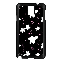 Square Pattern Black Big Flower Floral Pink White Star Samsung Galaxy Note 3 N9005 Case (black) by Alisyart