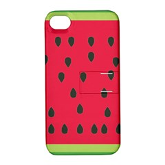 Watermelon Fan Red Green Fruit Apple Iphone 4/4s Hardshell Case With Stand by Alisyart