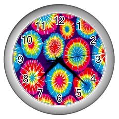Tie Dye Circle Round Color Rainbow Red Purple Yellow Blue Pink Orange Wall Clocks (silver)  by Alisyart