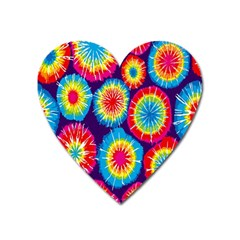 Tie Dye Circle Round Color Rainbow Red Purple Yellow Blue Pink Orange Heart Magnet by Alisyart