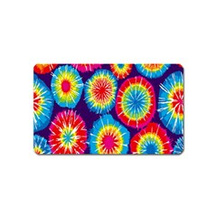 Tie Dye Circle Round Color Rainbow Red Purple Yellow Blue Pink Orange Magnet (name Card) by Alisyart