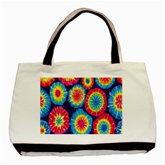 Tie Dye Circle Round Color Rainbow Red Purple Yellow Blue Pink Orange Basic Tote Bag (two Sides) by Alisyart