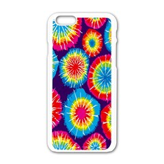 Tie Dye Circle Round Color Rainbow Red Purple Yellow Blue Pink Orange Apple Iphone 6/6s White Enamel Case by Alisyart