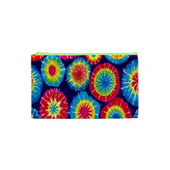 Tie Dye Circle Round Color Rainbow Red Purple Yellow Blue Pink Orange Cosmetic Bag (xs) by Alisyart