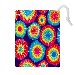 Tie Dye Circle Round Color Rainbow Red Purple Yellow Blue Pink Orange Drawstring Pouches (extra Large) by Alisyart
