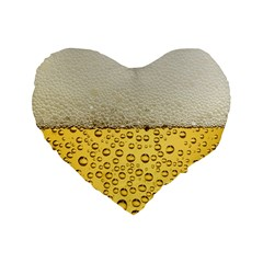 Water Bubbel Foam Yellow White Drink Standard 16  Premium Heart Shape Cushions by Alisyart