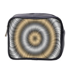 Prismatic Waves Gold Silver Mini Toiletries Bag 2 Side by Alisyart
