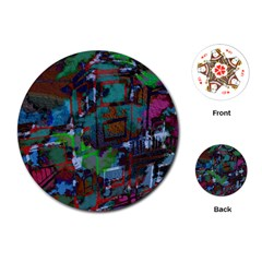 Dark Watercolor On Partial Image Of San Francisco City Mural Usa Playing Cards (round)
