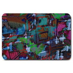 Dark Watercolor On Partial Image Of San Francisco City Mural Usa Large Doormat  by Simbadda